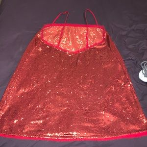 FREE PEOPLE SPARKLY RED MINI DRESS